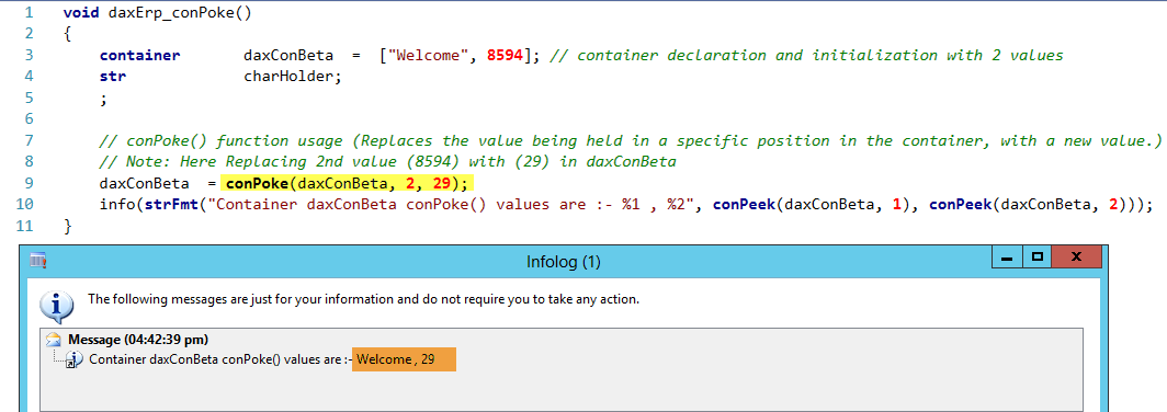 Dynamics AX Container conPoke Function