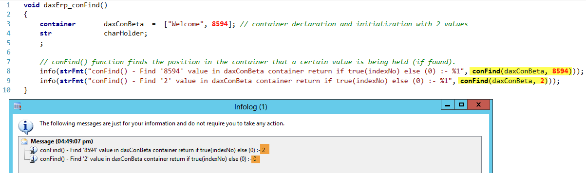 Dynamics AX Container conFind Function