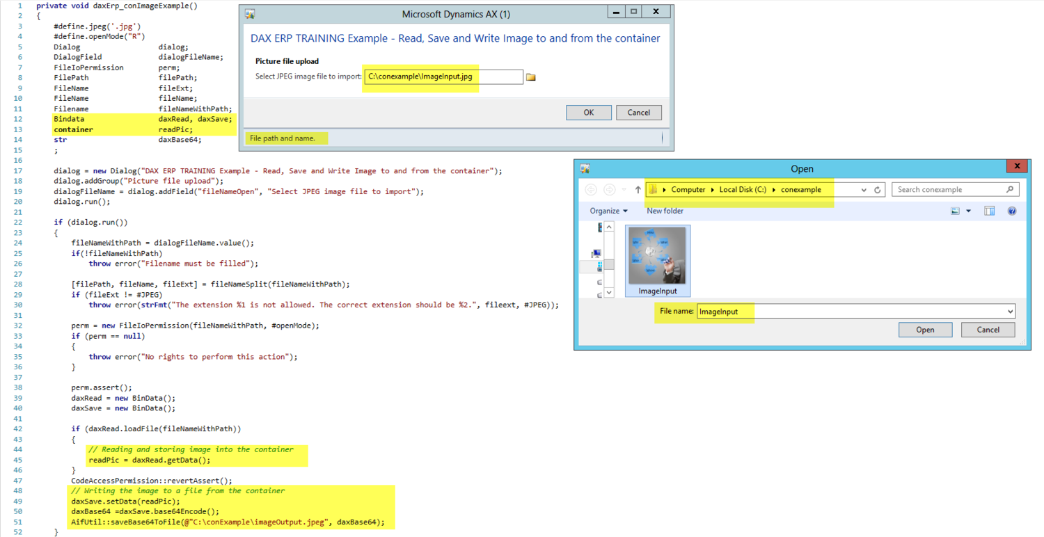 Dynamics AX Container Storing Image Example