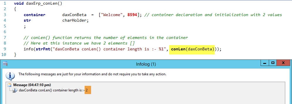 Container conDel Function