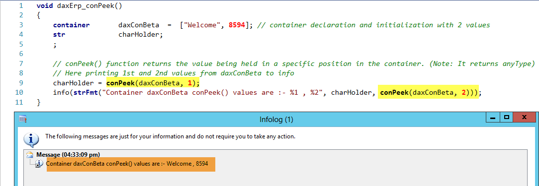 Dynamics AX Container ConPeek Function