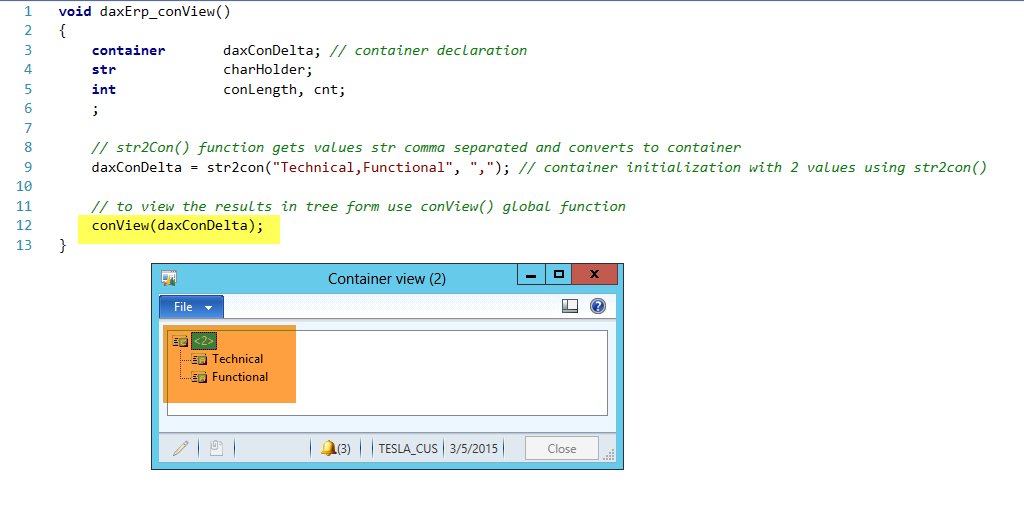 Dynamics AX Container conVIew Function