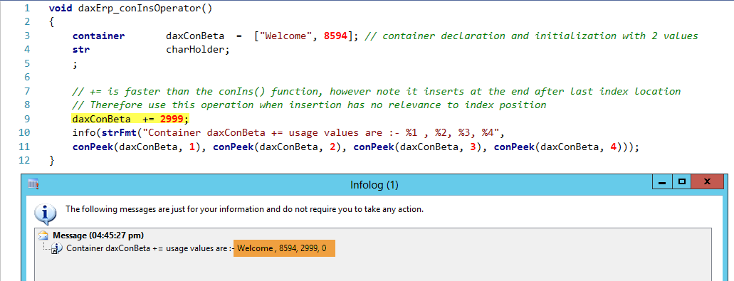 Dynamics AX Container insert operator +=