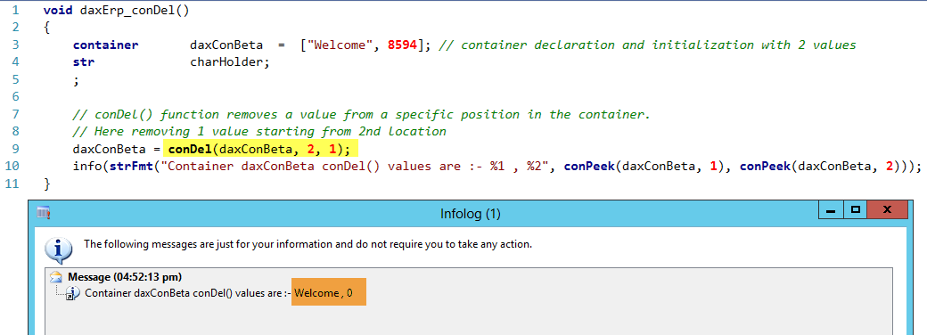 Dynamics AX Container conDel Function