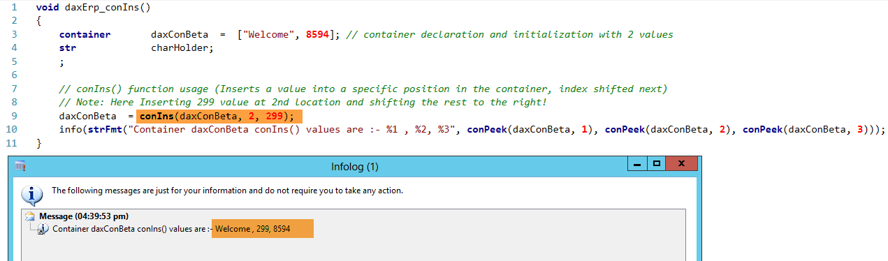 Dynamics AX Container conIns Function