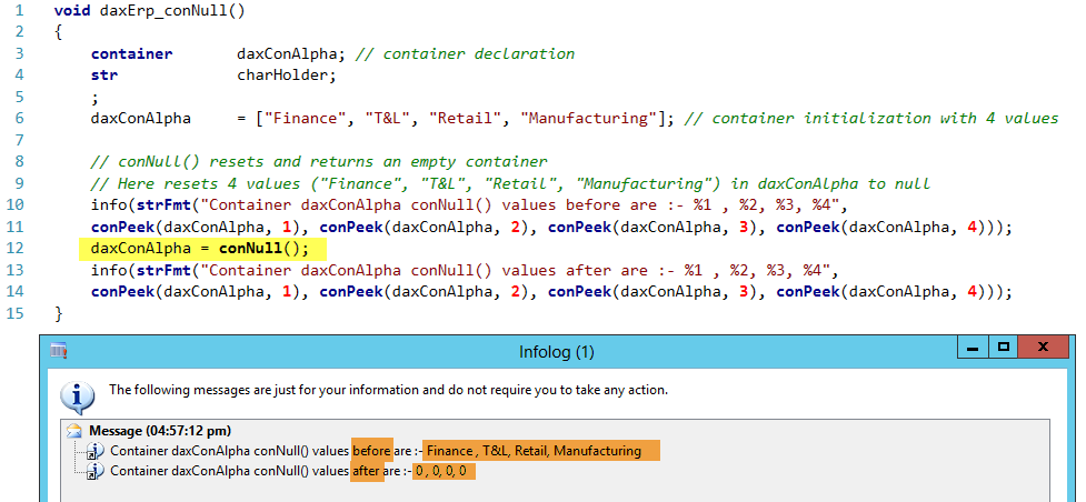 Dynamics AX Container conNull Function