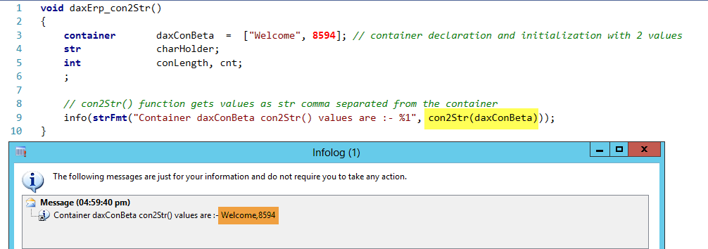 Dynamics AX Container con2Str Function
