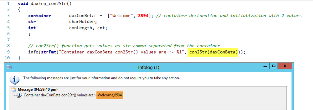 Container con2Str Function